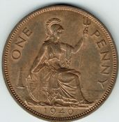 George VI, One Penny 1940 (Scarcer Year), AUNC, M9025